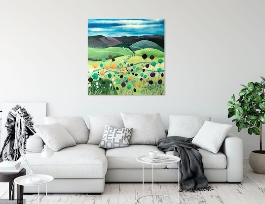 (CreativeWork) Yarra Valley View Whimsy. by Marion Rispin. Acrylic Paint. Shop online at Bluethumb.