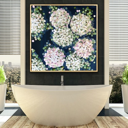 (CreativeWork) The gentle white hydrangeas 102x102  framed large abstract flowers by Sophie Lawrence. Acrylic Paint. Shop online at Bluethumb.