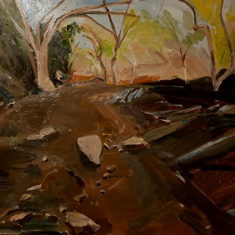 (CreativeWork) Dry Creek Bed at Wilpena Pound  by Timothy Dell. Oil Paint. Shop online at Bluethumb.