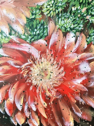 (CreativeWork) Love is a flower we got to let it grow - Gerbera, Carnation, Pink Lily and Button Pom Green chrysanthemum by HSIN LIN. Acrylic Paint. Shop online at Bluethumb.