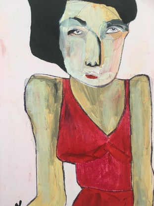 (CreativeWork) Bertha at the bus stop.  by Kate Rogers. Mixed Media. Shop online at Bluethumb.