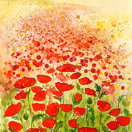 (CreativeWork) Poppies For Miles by Lucinda Leveille. Watercolour Paint. Shop online at Bluethumb.