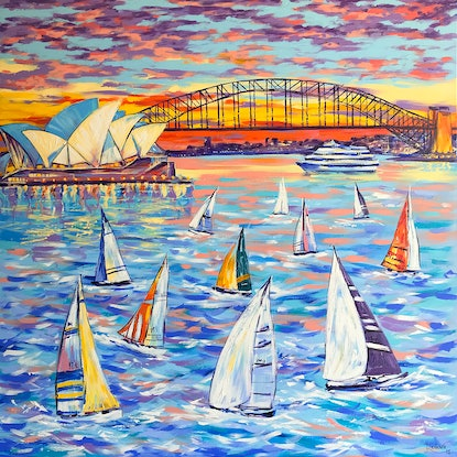 (CreativeWork) Sydney Harbour Sailing by Irina Redine. Acrylic Paint. Shop online at Bluethumb.