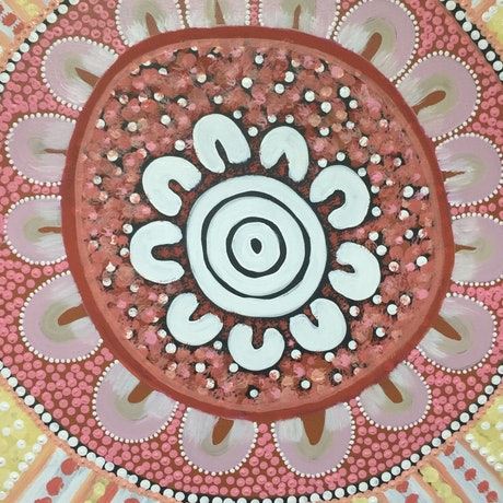 (CreativeWork) Aboriginal dot painting 'meeting with the aunties'  by gidabul doobay. Acrylic Paint. Shop online at Bluethumb.