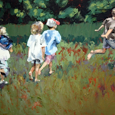 (CreativeWork) Playing At The Park II by Claire McCall. Oil Paint. Shop online at Bluethumb.