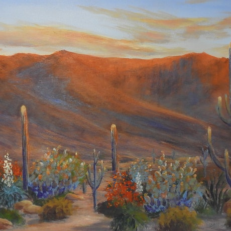 (CreativeWork) Evening falls over the Desert by Lindy Whitton. Acrylic Paint. Shop online at Bluethumb.