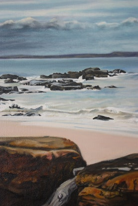 (CreativeWork) Here she comes by Gaye Sutherland. Oil. Shop online at Bluethumb.