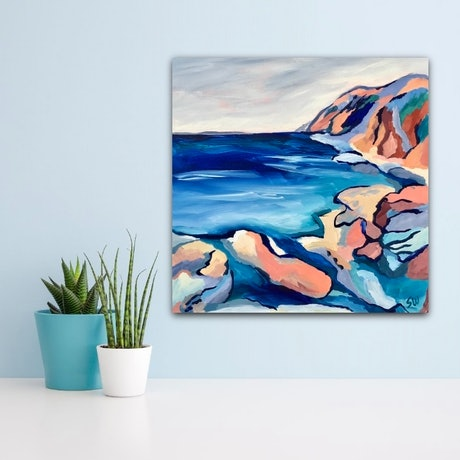 (CreativeWork) Rock Pools by Sue Woolnough. Acrylic Paint. Shop online at Bluethumb.