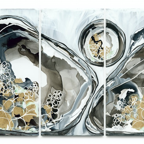(CreativeWork) Apollo Triptych by Lara Scolari. Mixed Media. Shop online at Bluethumb.
