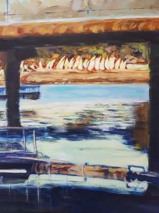 (CreativeWork) HAWTHORNE CANAL by Suzy Strout. Acrylic Paint. Shop online at Bluethumb.