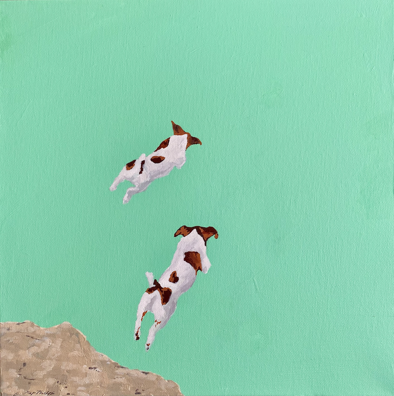 (CreativeWork) Just Jump Mini 3 by Pip Phelps. Acrylic Paint. Shop online at Bluethumb.