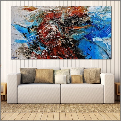 (CreativeWork) Rusted Overland 190cm x 100cm Orange Blue Textured Abstract Franko by _Franko _. Acrylic Paint. Shop online at Bluethumb.