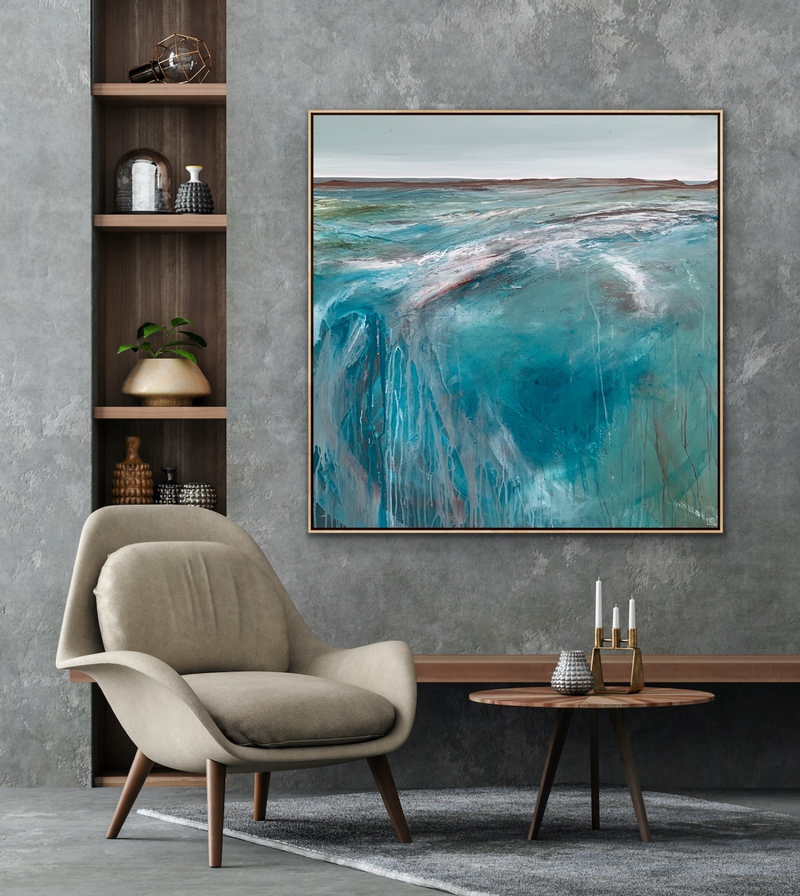(CreativeWork) Strolling On The Plains 102 x 102cm Large Abstract Landscape by Tania Chanter. Acrylic Paint. Shop online at Bluethumb.