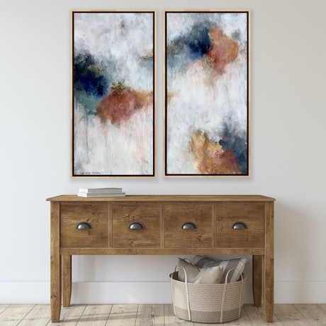 (CreativeWork) Caramelised Peach Parfait - oak framed by Lisa Wisse-Robinson. Mixed Media. Shop online at Bluethumb.