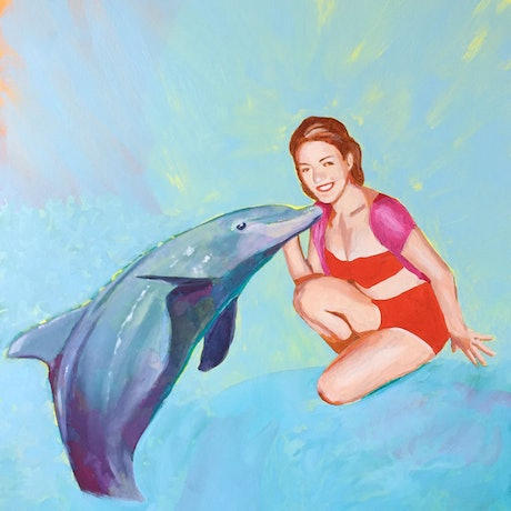 (CreativeWork) Dolphin Cove by Maz Dixon. Oil Paint. Shop online at Bluethumb.