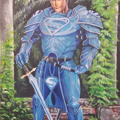 (CreativeWork) Prime Knight Kal' El by Jake Lee Welch. Acrylic. Shop online at Bluethumb.