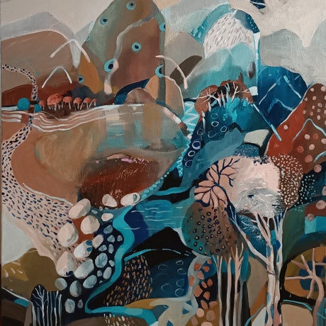 (CreativeWork) Abstract Landscape  - The Mushroom Tree by Susan Trudinger. Acrylic Paint. Shop online at Bluethumb.