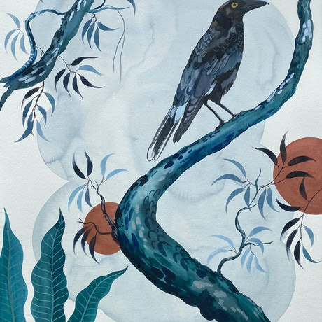 (CreativeWork) Currawong Japonica 2020 by Sally Browne. Watercolour Paint. Shop online at Bluethumb.