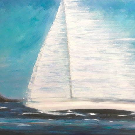 (CreativeWork) Rounding The Heads - large, seascape, yacht racing, ocean by Bruce Peebles. Acrylic Paint. Shop online at Bluethumb.