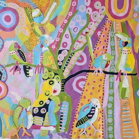 (CreativeWork) :How the birds got their colours'/3 an Aboriginal Dreamtime Story  by Karen Lee. Acrylic Paint. Shop online at Bluethumb.