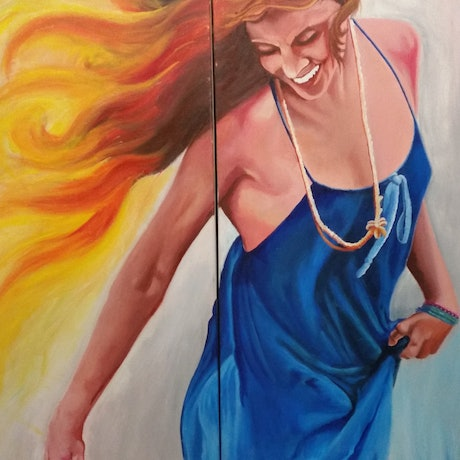 (CreativeWork) Of Fire and Ice by Jake Lee Welch. Acrylic. Shop online at Bluethumb.
