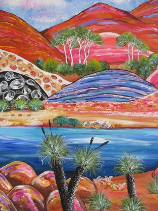 (CreativeWork) Abstract Landscape - Grass Trees by Denise Balson. Acrylic Paint. Shop online at Bluethumb.