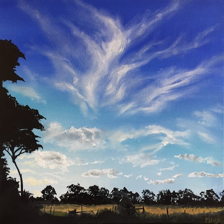 (CreativeWork) Cloud Whispers by Cathy Yarwood - Mahy. Oil Paint. Shop online at Bluethumb.