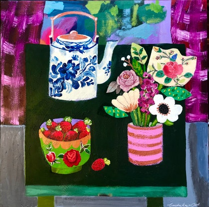 (CreativeWork) Tea and Strawberries  by Sandra Oost. Mixed Media. Shop online at Bluethumb.