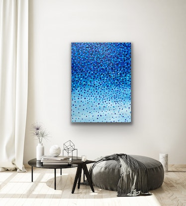 (CreativeWork) True Blue  by Theo Papathomas. Oil Paint. Shop online at Bluethumb.