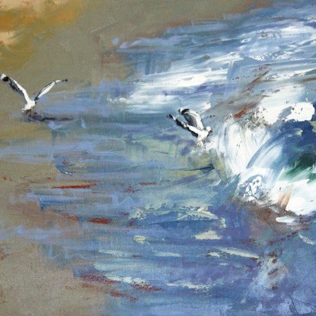 (CreativeWork) Seagulls by Claire McCall. Oil Paint. Shop online at Bluethumb.