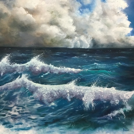 (CreativeWork) Rolling Thunder by Leoni Hines. Oil Paint. Shop online at Bluethumb.