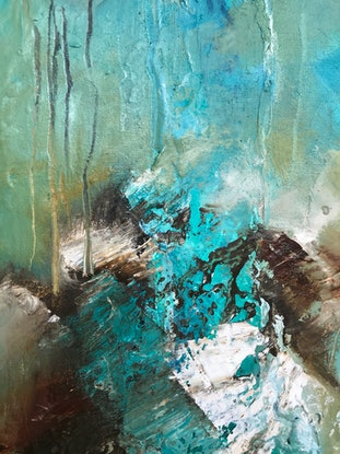 (CreativeWork) Water ways 4 by sue bannister. Oil Paint. Shop online at Bluethumb.