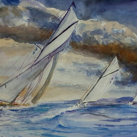 (CreativeWork) Sailing v2 by Gerard Mignot. Watercolour Paint. Shop online at Bluethumb.