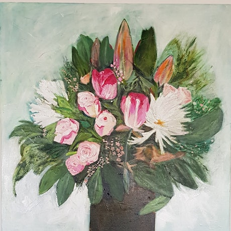 (CreativeWork) Flowers for Love by Rhonda Turnbull. Acrylic Paint. Shop online at Bluethumb.