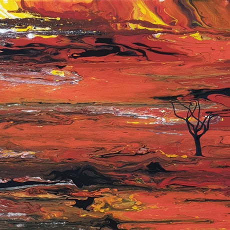 (CreativeWork) Fiery Outback by Brigitte Ackland. Acrylic Paint. Shop online at Bluethumb.