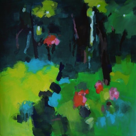 (CreativeWork) Walking near forest edge by Susan Lhamo. Acrylic Paint. Shop online at Bluethumb.