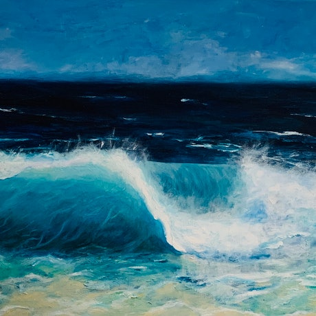 (CreativeWork) Rolling In The Deep Blue Ocean Wave by Jenny McGrath. Acrylic Paint. Shop online at Bluethumb.