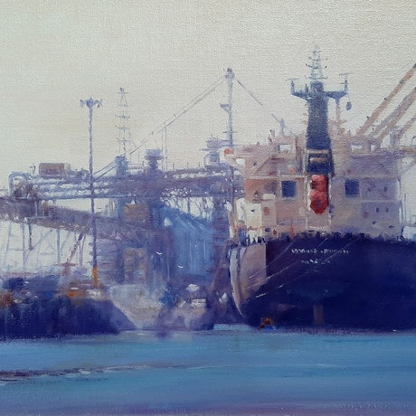 (CreativeWork) Docked and Loading by Mary Hyde. Oil Paint. Shop online at Bluethumb.