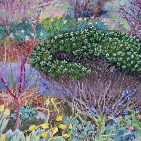(CreativeWork) An artist's garden - Monaro by fiona smith. Oil Paint. Shop online at Bluethumb.