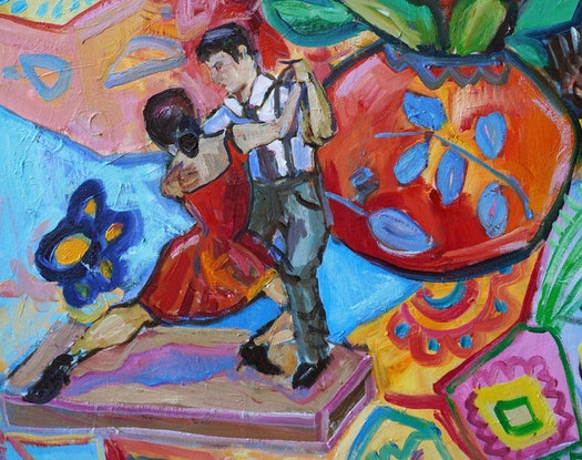 (CreativeWork) Argentine Tango and Sugar Gliders by Katerina Apale. Oil Paint. Shop online at Bluethumb.