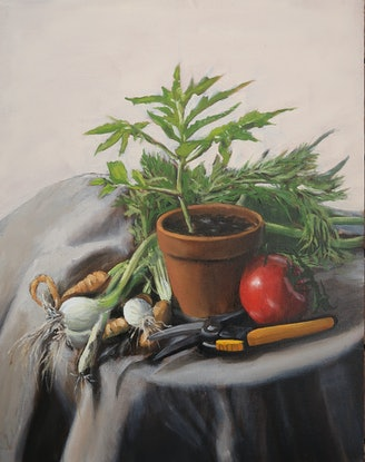 (CreativeWork) Still life from the allotment by Nicholas Kerr. Oil Paint. Shop online at Bluethumb.