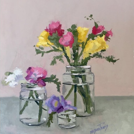(CreativeWork) Freesias in glass jars by Mirjana Psakis. Oil Paint. Shop online at Bluethumb.