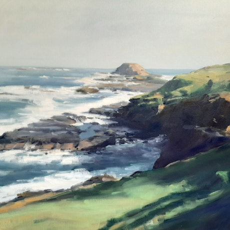 (CreativeWork) The Nobbies . Phillip Island  VIC by Mary Hyde. Oil Paint. Shop online at Bluethumb.
