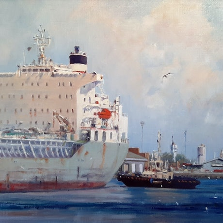 (CreativeWork) Shipping Movements  on the Yarra by Mary Hyde. Oil Paint. Shop online at Bluethumb.