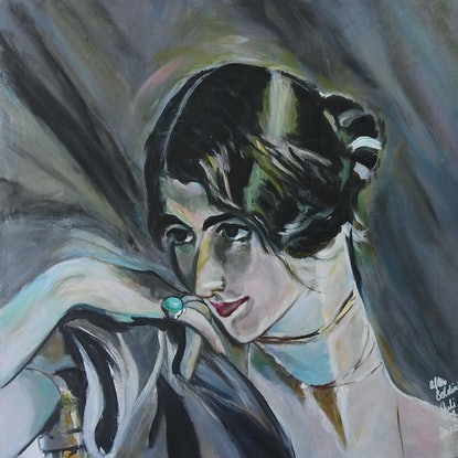 (CreativeWork) Detail of Giovanni Boldini's Portrait of a Young Woman 1901 by julie hollis. Acrylic Paint. Shop online at Bluethumb.