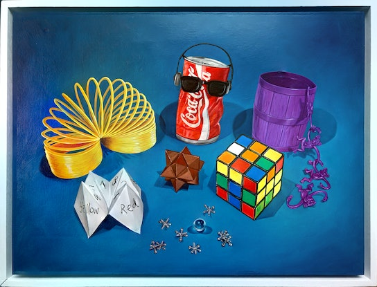 (CreativeWork) Toy Box (before wifi) by Melissa Ritchie. Oil Paint. Shop online at Bluethumb.
