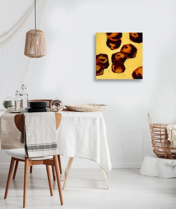 (CreativeWork) Peaches on Yellow by Brianna Gittos. Acrylic Paint. Shop online at Bluethumb.