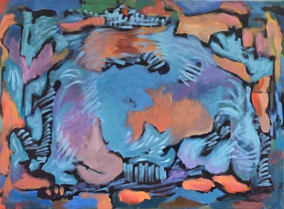 (CreativeWork) Blue lagoon by Eva Miller. Acrylic Paint. Shop online at Bluethumb.
