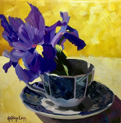 (CreativeWork) Teacup with Irises by Katrina Linn. Oil Paint. Shop online at Bluethumb.