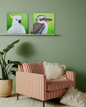 (CreativeWork) Chunky - Kookaburra  - AUSTRALIANA - Animals by Olga Kolesnik. Acrylic Paint. Shop online at Bluethumb.
